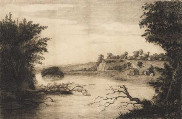 The village of St. Paul, 1844. Etching by Charles William Post.