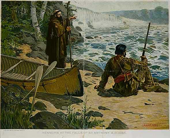 Painting of Father Louis Hennepin at the Falls of St. Anthony, 1680