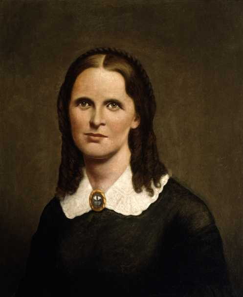 Oil-on-canvas portrait of Harriet Bishop. Painted c.1880 by Andrew Falkenshield; based on an engraving of Bishop made in 1860.