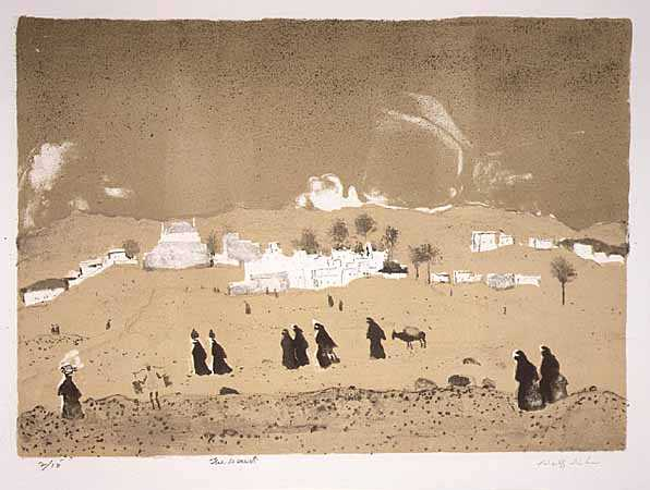 The Desert, lithograph on paper by Adolf Dehn 1967.