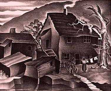 Black and white lithograph print on paper of Swede Hollow, c.1936.