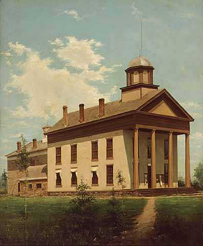 Oil-on-canvas painting of the first Ramsey County courthouse. Painted by Alexis Jean Fournier in 1888.