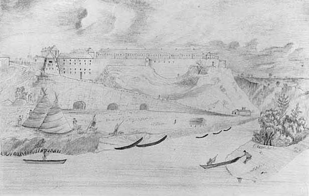 Graphite drawing of Fort Snelling showing landing road with root cellars beneath it and Dakota Indians in the foreground, c.1856. Drawing by B. C. H.