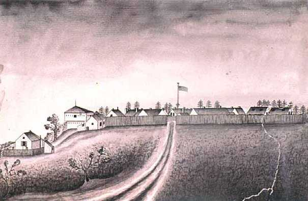 Fort Ripley view from the north, 1864. Pen and wash drawing by Corporal August Harfeldt, Third Battery, Minnesota Light Artillery.