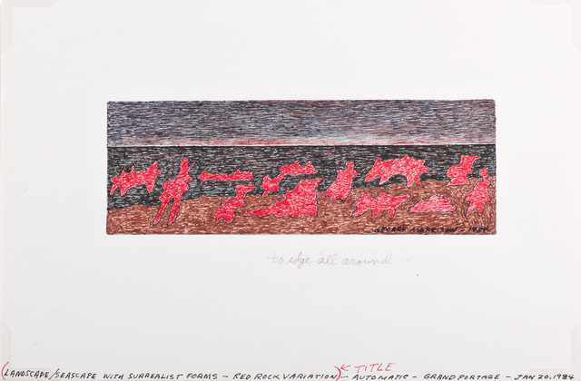 Color image of Landscape/Seascape with Surrealist Forms: Red Rock Variation drawing by George Morrison, 1984.