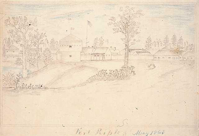 Graphite Drawing of Fort Ripley, 1863. Drawing by Jonathan Burnett Salisbury.