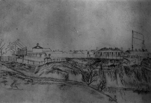 Graphite drawing of Fort Snelling, 1863.