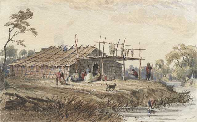 Watercolor on paper of a Dakota dwelling. Painted between 1846 and 1848 by Seth Eastman.
