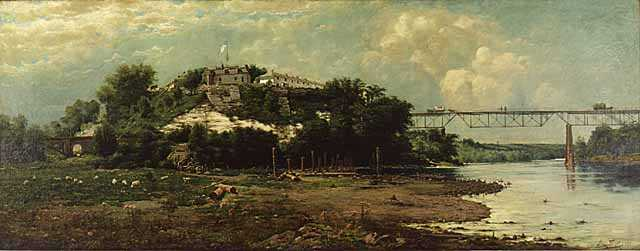 Oil-on-canvas painting of Fort Snelling. Painted by Alexis Jean Fournier in 1888.
