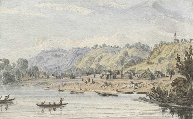 Water color painting of Little Crow's village on the Mississippi by Seth Eastman c.1846–1848.