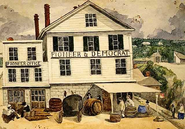 Watercolor on paper of the office of the St. Paul Pioneer and Democrat newspaper as the building appeared in 1858.
