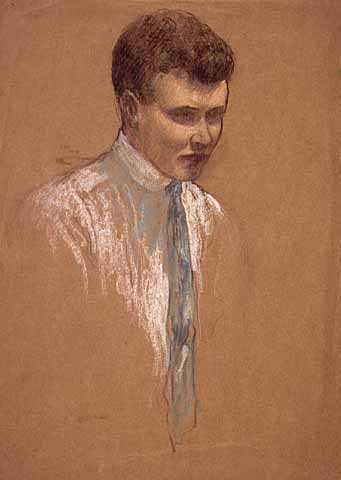 Pastel drawing on paper of Adolf Dehn made by Wanda Gág, c.1915.