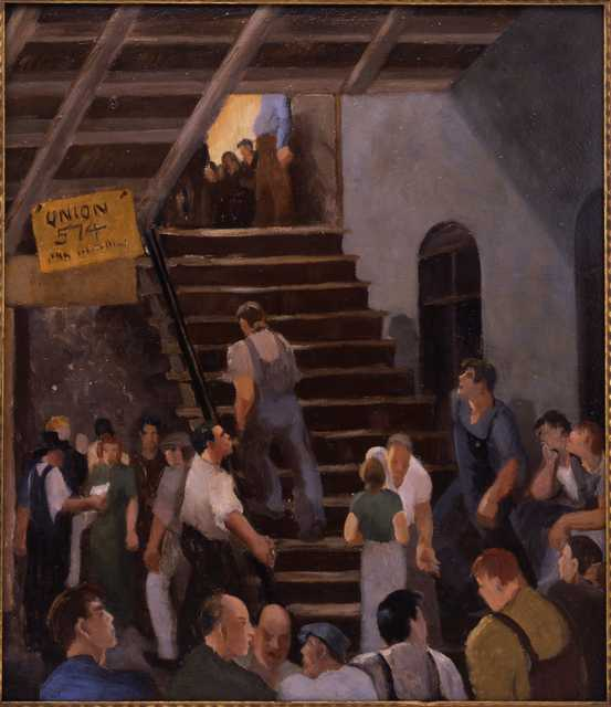 Oil on board painting of strike headquarters, 1934. Painting by Jerry Hudson.