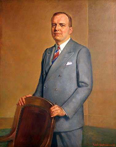 Color image of oil-on-canvas portrait of Harold Stassen. Painted by Carl A. Bohnen in 1943.
