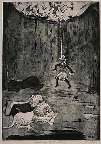 Daniel in the Lion's Den, 1925. Etching on paper by Clara Mairs.