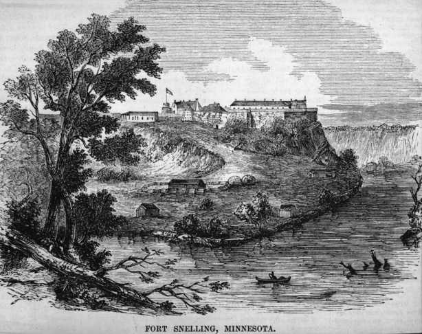 Black and white lithograph of Fort Snelling, showing additional buildings on the landing, 1830. Artist unknown.