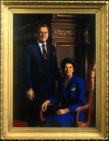Oil on canvas portrait of Governor Rudy Perpich and First Lady Lola Perpich, painted in 2000 by Mark Balma.