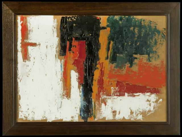 Color image of Untitled, An abstract oil raw canvasboard by George Morrison, 1959. Primarily orange, white, red, black and green in color.