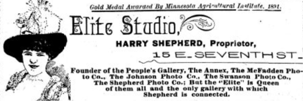 Advertisement for Harry Shepherd's Elite Studio, located at 15 East Seventh Street in St. Paul, 1891. From the Appeal, December 19, 1891.