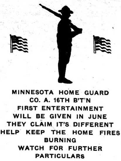 Advertisement for an event hosted by Company A of the Sixteenth Battalion, Minnesota Home Guard. Image is from the St. Paul Appeal, May 25, 1918.