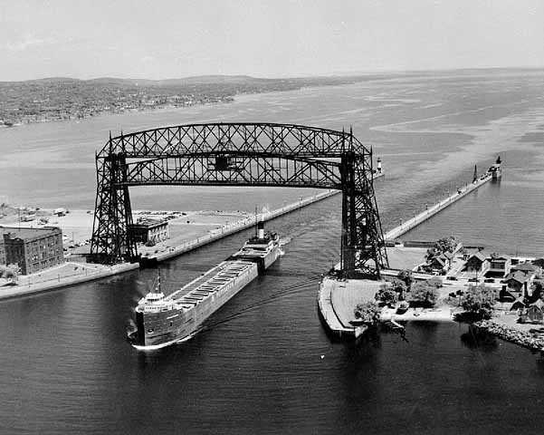 Aerial view of Duluth Lift Bridge, Duluth