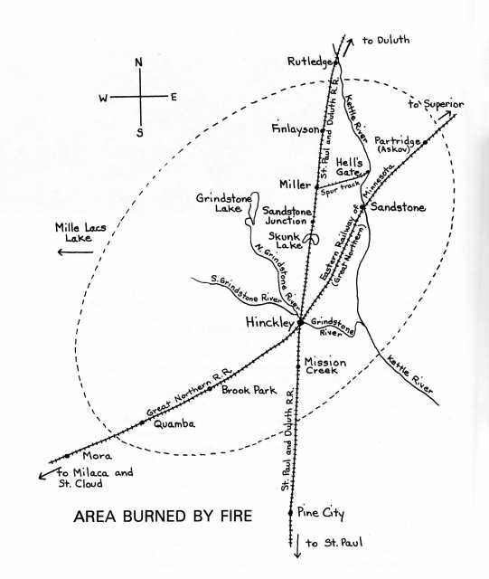 Map on page 96 shows the towns and area in Minnesota that were burned in the Hinckley fire. From Grace Stageberg Swenson's From the Ashes: The Story of the Hinckley Fire of 1894 (St. Cloud: North Star Press of St. Cloud, Inc., 1994), 96.