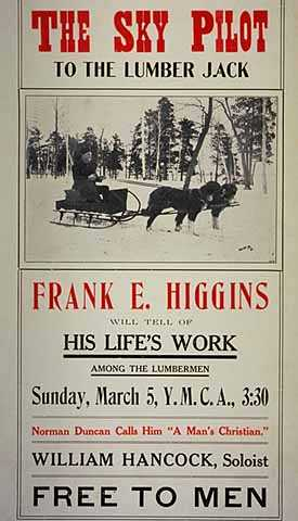 Black-and-white paper poster advertising a lecture appearance by Frank E. Higgings, c.1909.