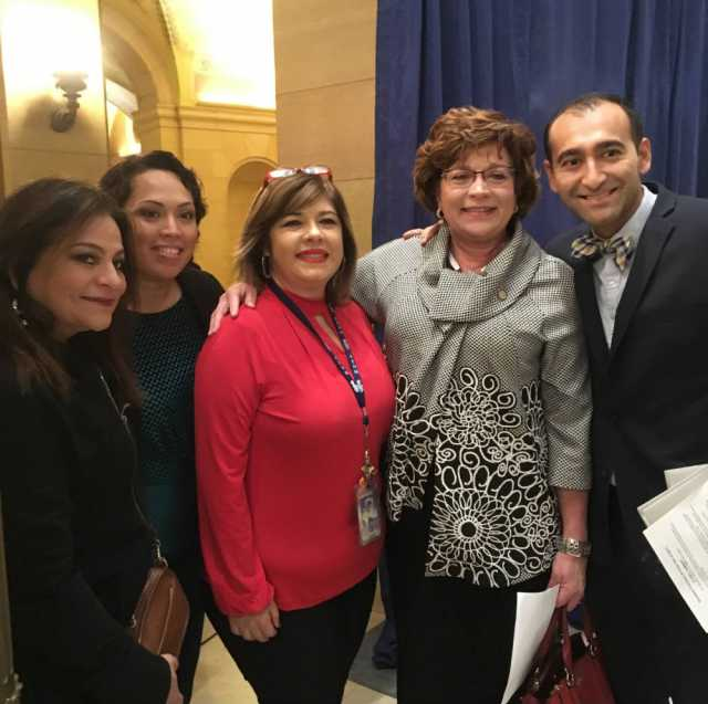 Color image of MCLA Board Members and Executive Director Henry Jiménez celebrate Minnesotanos Day at the Capitol, 2017.