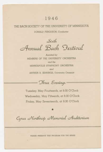 1946 Bach Society of Minnesota program cover