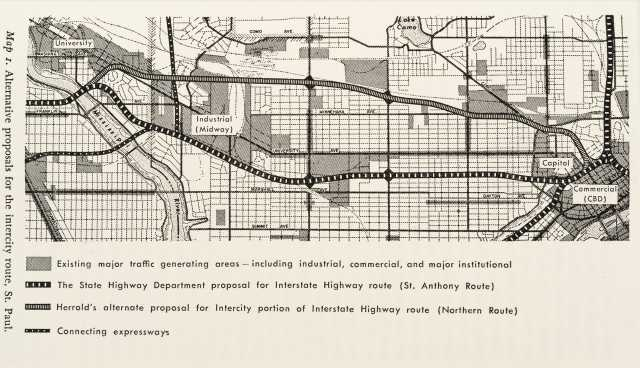 Map of the Interstate 94 corridor, 1965. From Alan A. Altshuler's The City Planning Process: A Political Analysis (Ithaca, NY: Cornell University Press, 1965). Used with the permission of Cornell University Press.