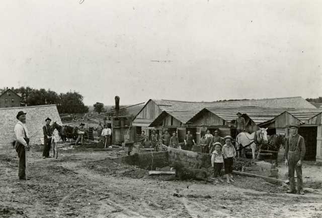 Black and white photograph of the brickyard run by Herman and Joseph Imdieke c.1890.