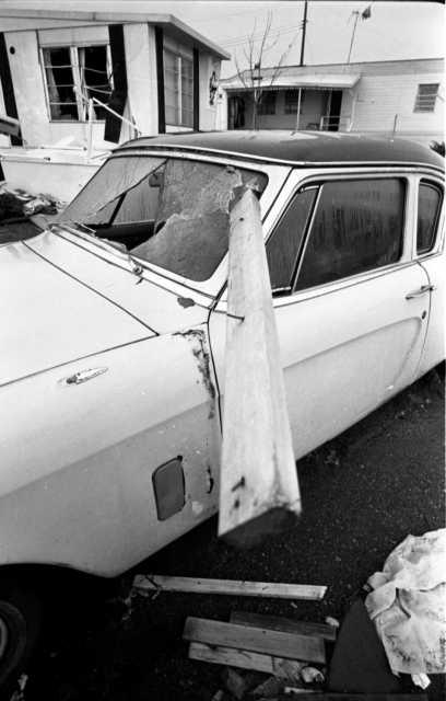 Car damaged by Fridley tornado