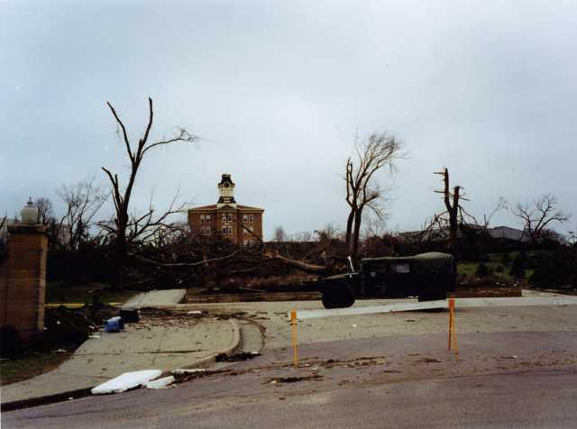 Color view toward Old Main following the 1998 tornado.