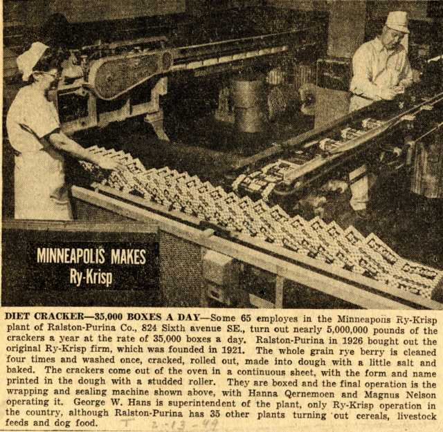 Newspaper clipping with a photograph of Ry-Krisp workers printed in the Minneapolis Tribune