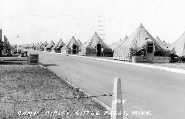 Black and white photograph of a Tent city at Camp Ripley ca. 1950.