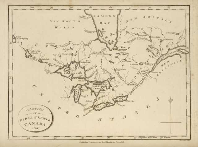 """Color scan of """"A new map of Upper and Lower Canada, 1794."""" Image is from the New York Public Library Digital Collections."""