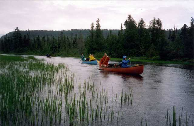 Color image of canoers in the BWCA, ca. 2006.