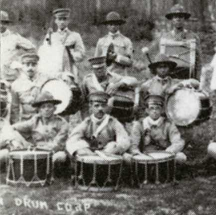 Black and white photograph of Musicians of the Sixteenth Battalion Band, c.1918.