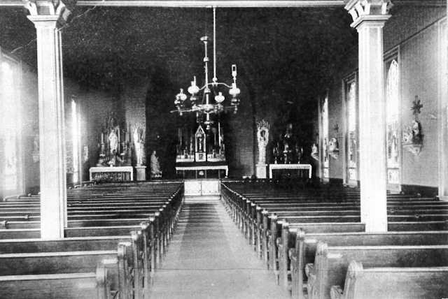 Black and white photograph of the interior of the Immaculate Heart of Mary Catholic Church, ca. 1883.