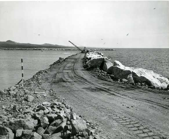 Taconite Harbor, 1956. Taconite Harbor was built to ship ore mined and processed at Erie Mining Company in Hoyt Lakes to steel mills on the Great Lakes. Concentrated ore was shipped from Hoyt Lakes to Taconite Harbor on a private railroad.