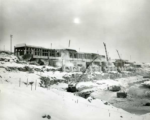 Erie Mining Company's Concentrator Building under construction, ca. 1954. The Concentrator Building—where taconite is finely ground and iron ore is removed from the rock—was built near Hoyt Lakes around 1954.