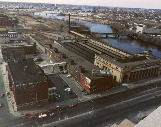 Color image of an aerial view of the Great Northern Depot and the surrounding area, looking north, 1978.