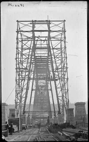 Black and white photoprint of high bridge construction c. November 1888.