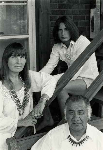 Black and white photograph of Hazel Belvo, George Morrison, and their son, Briand Morrison, c.1978.