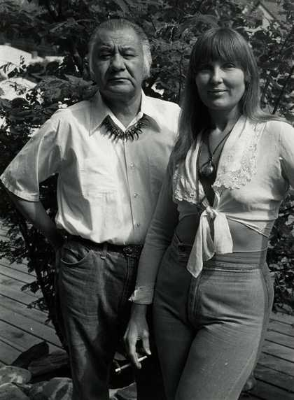 Black and white photograph of George Morrison and Hazel Belvo, 1976.