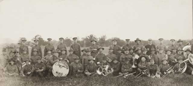 Black and white photograph of First Battalion, Minnesota Motor Corps Band at Camp Lakeview, Lake City, Minnesota, September, 1918.