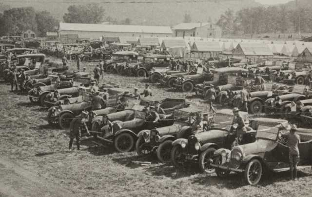 Black and white photograph of Motor Corps vehicles at Camp Lakeview, Lake City, Minnesota, September, 1918.