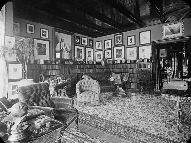 Black and white photograph of Bishop Whipple's library, c.1900.