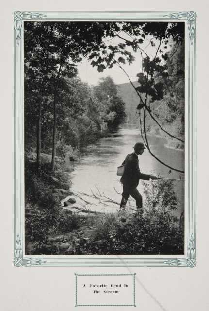 """A fisherman in Whitewater State Park, ca. 1917. Original caption: """"A Favorite Bend in the Stream."""" From The Paradise of Minnesota: The Proposed Whitewater State Park (L. A. Warming, 1917)."""