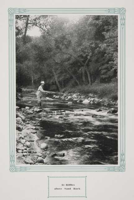 """: A stream in Whitewater State Park, ca. 1917. Original caption: """"Riffles above Sand Rock."""" From The Paradise of Minnesota: The Proposed Whitewater State Park (L. A. Warming, 1917)."""